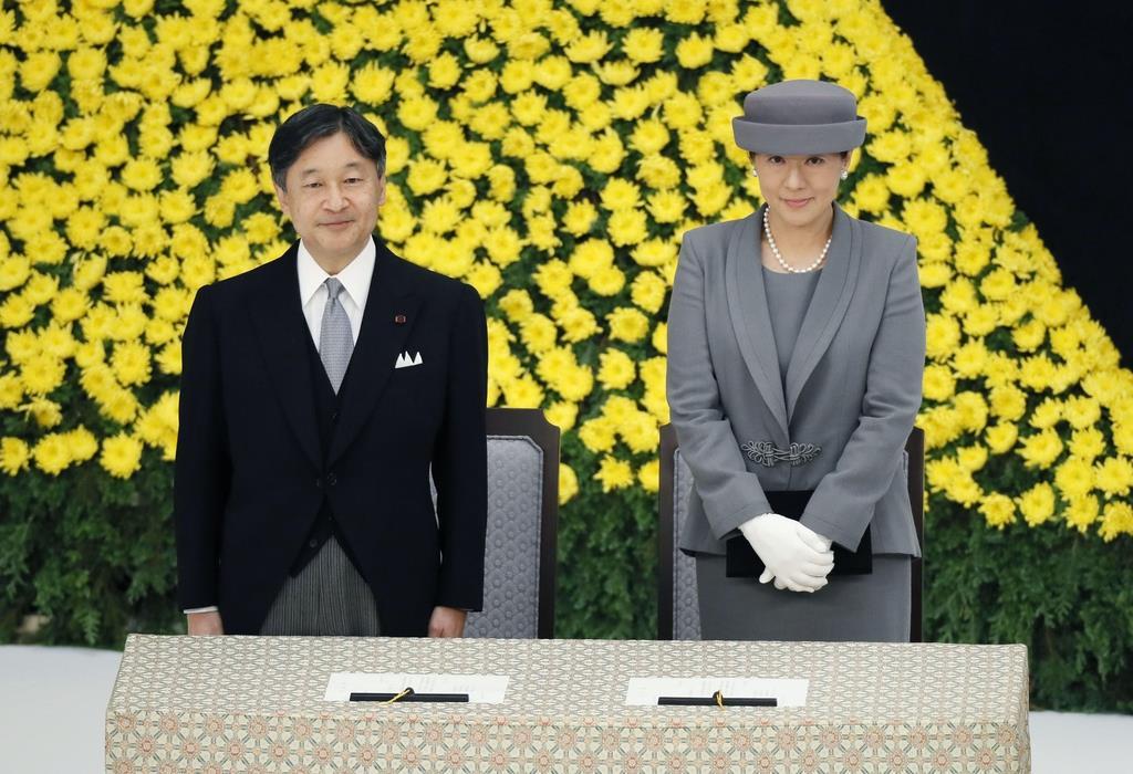 全国戦没者追悼式に参列された天皇、皇后両陛下=15日午前、東京・日本武道館