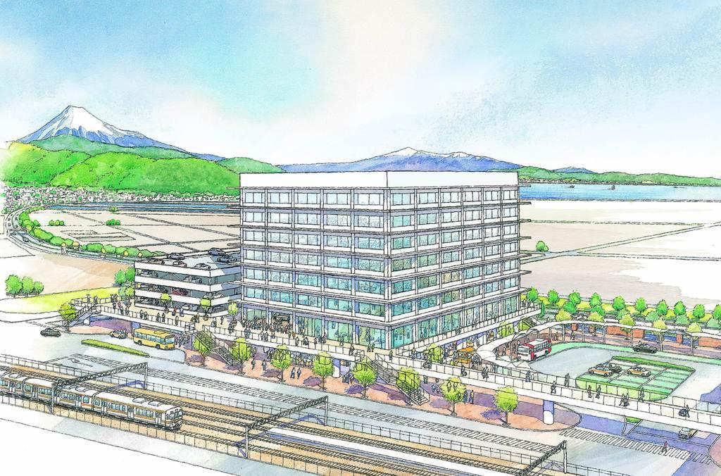 JR清水駅東口公園に建設が予定されている新庁舎のイメージ図(静岡市提供)