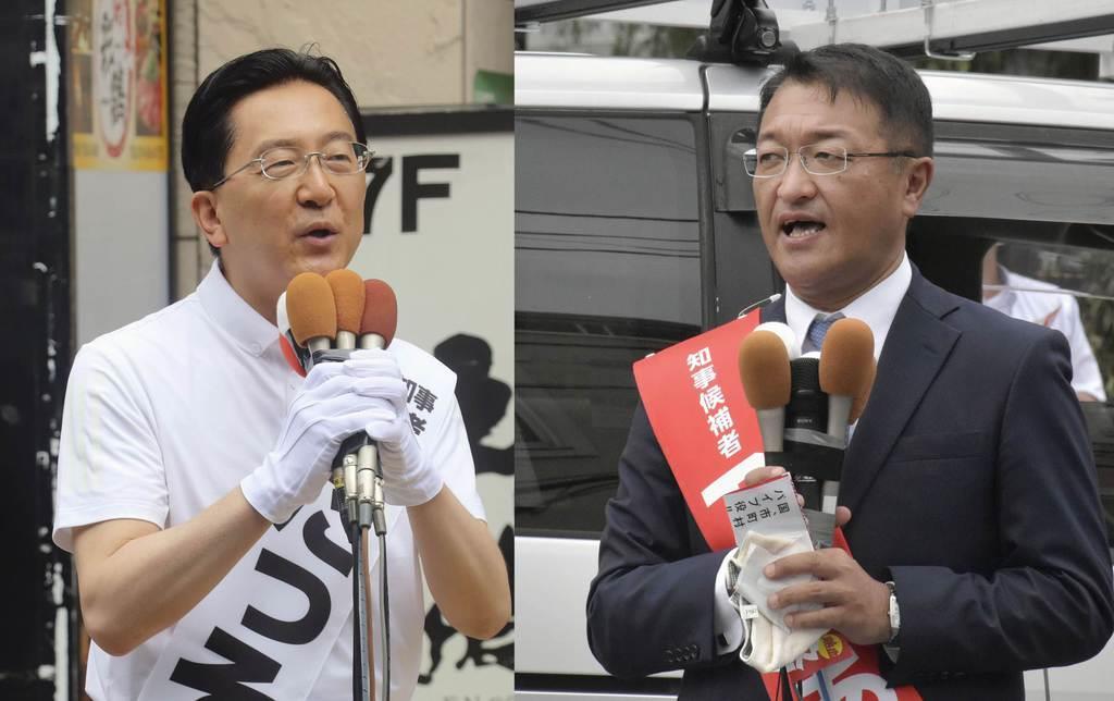岩手県知事選が告示され、支持を訴える(左から)達増拓也氏、及川敦氏