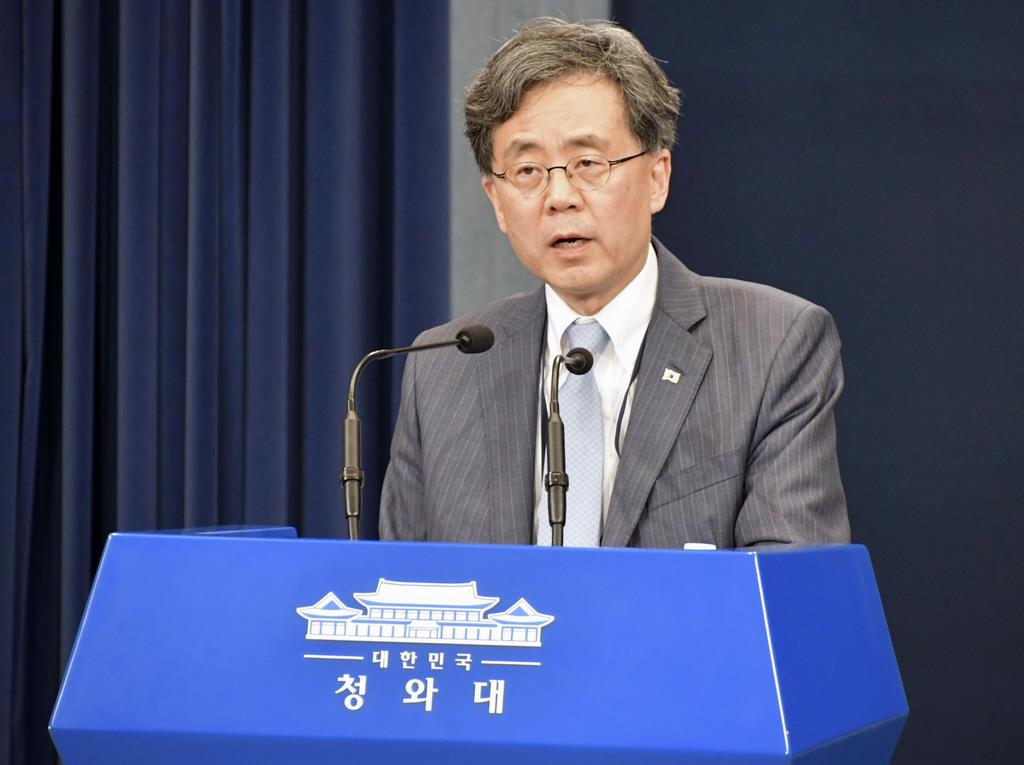 23日、ソウルで記者会見する韓国大統領府の金鉉宗・国家安保室第2次長