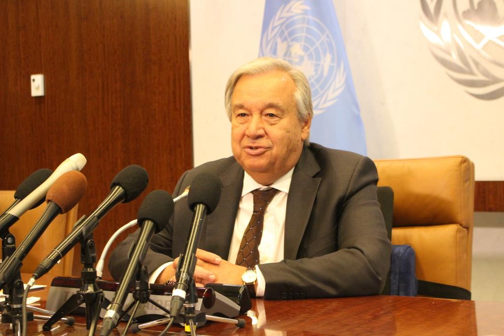 23日、訪日を前に米ニューヨークの国連本部で会見するグテレス事務総長(上塚真由撮影)