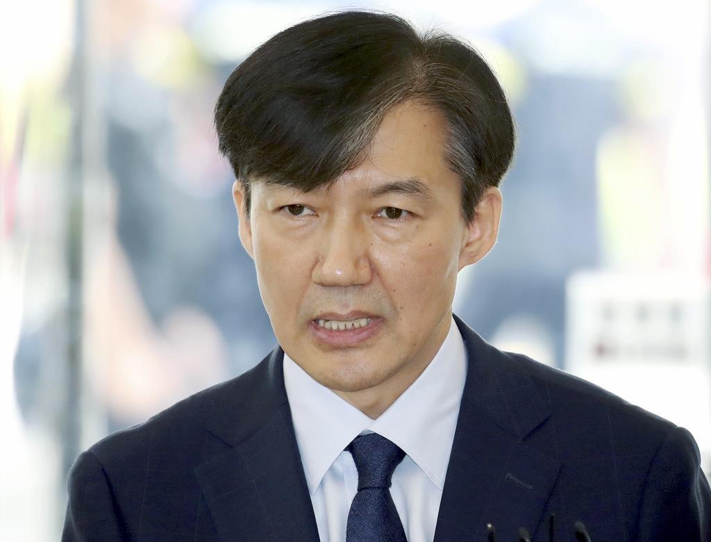 韓国の文在寅政権が9日に法相候補として発表したチョ・国氏=26日、ソウル(聯合=共同)