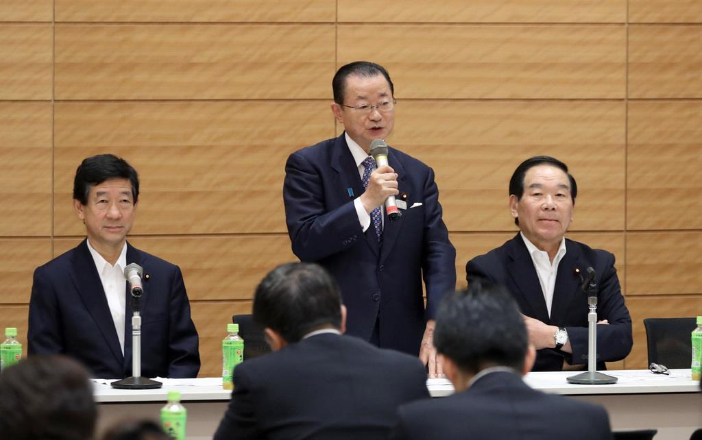 日韓議員連盟総会で挨拶する河村建夫幹事長=6月12日、国会内(春名中撮影)