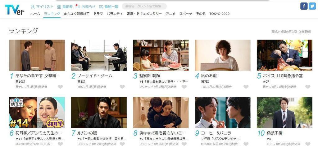 TVerの画面。ランキング上位には民放の人気ドラマなどが並ぶ
