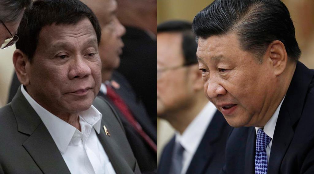 中国の習近平国家主席(右)とフィリピンのドゥテルテ大統領=8月、北京(AP、ロイター)