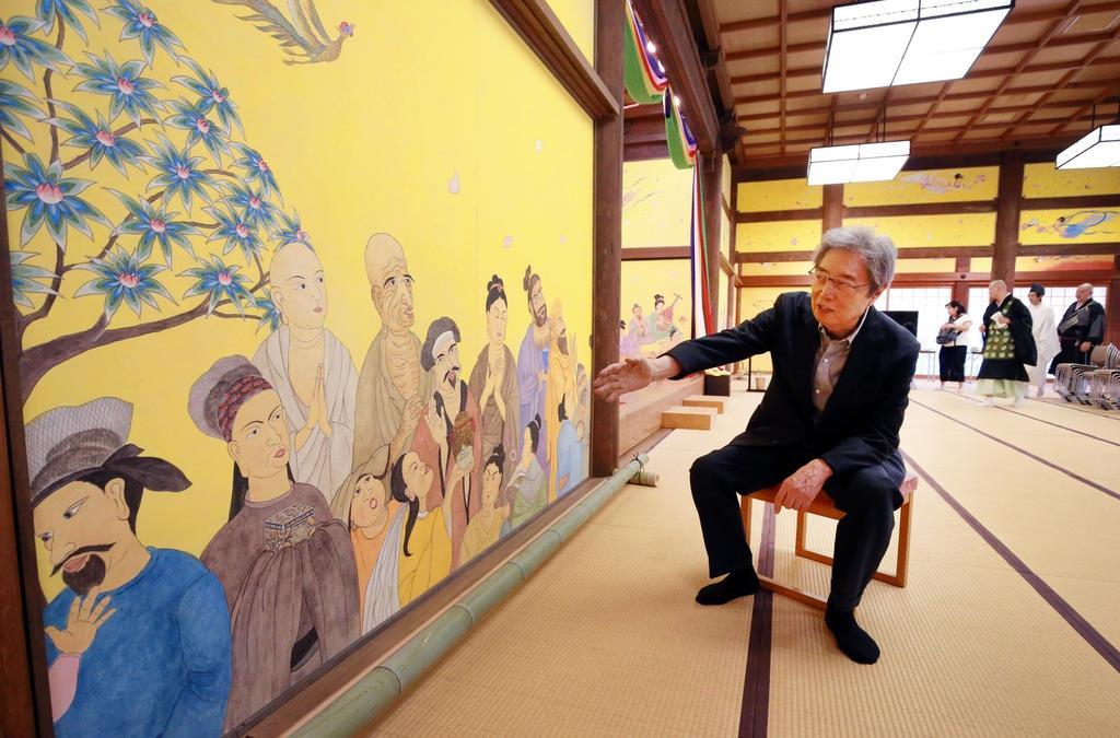 薬師寺に奉納の細川護煕氏の障壁画「東と西の融合」、開眼法要