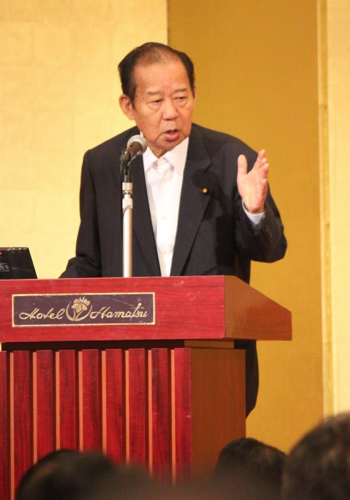派閥研修会で挨拶する自民党の二階俊博幹事長=7日、福島県郡山市