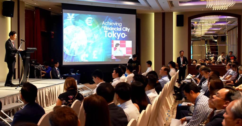 香港の企業経営者や投資家らを集めて東京都が開いたセミナー=8月28日、香港のホテル(天野健作撮影)