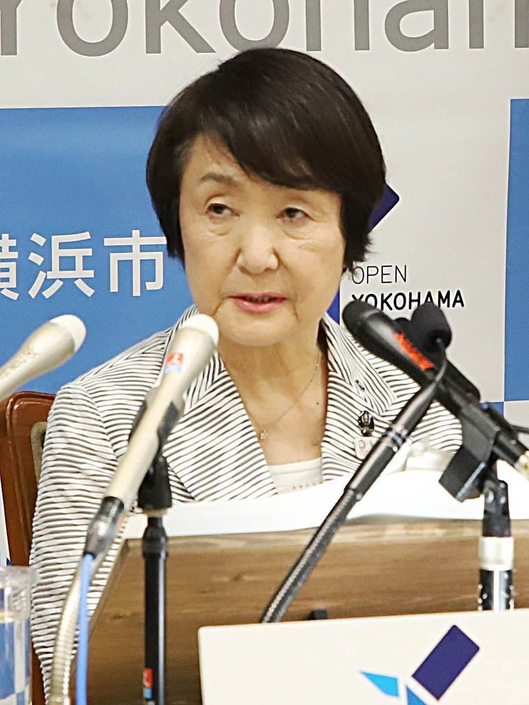 IR誘致方針を発表する横浜市の林文子市長=8月22日、横浜市役所