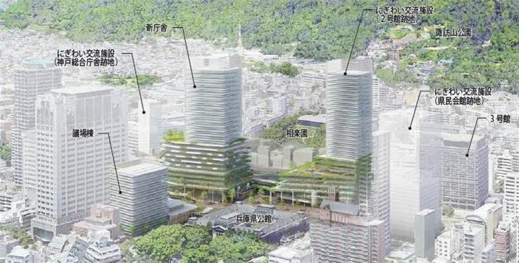 隈研吾氏の設計事務所などが提案した県庁周辺再整備のイメージ(県提供)