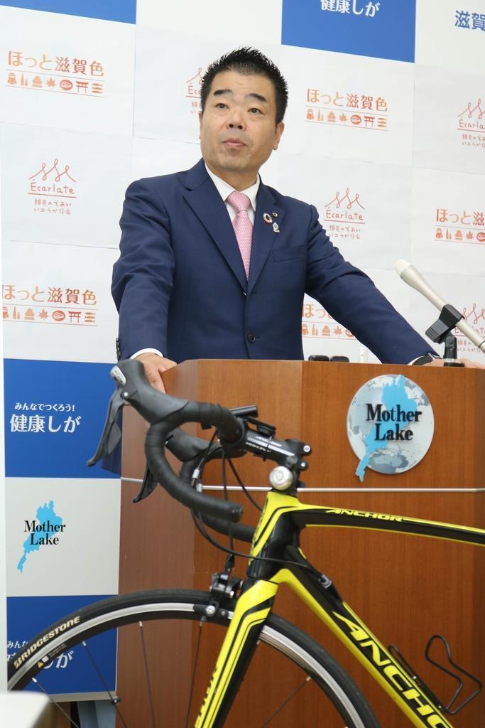 ビワイチのナショナルサイクルルートの候補入りについて会見する滋賀県の三日月知事=10日、滋賀県庁