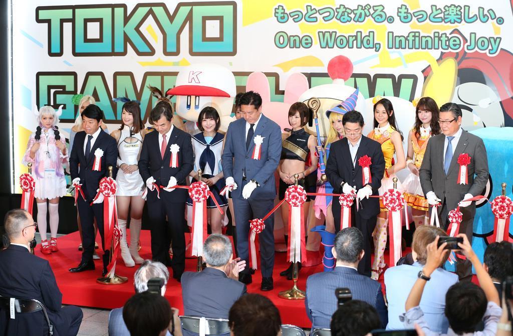 【東京ゲームショー2019】一般公開を前に、関係者に向けて始まった東京ゲームショウ2019で行われたオープニングセレモニー=12日午前、千葉市(佐藤徳昭撮影)