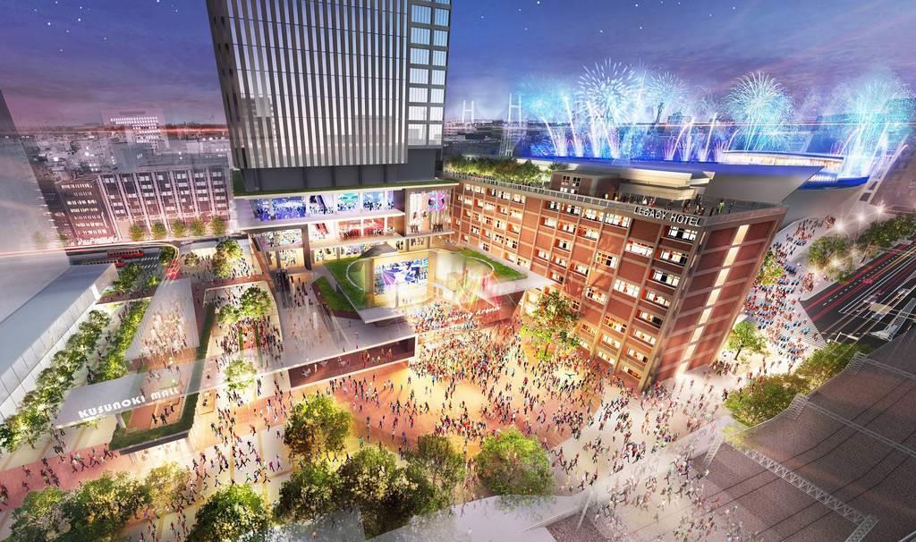 関内駅側から見た現市庁舎の再開発後のイメージ図=横浜市提供