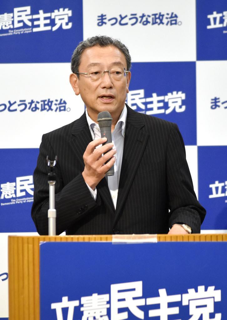 立憲民主党の参院議員会長に就任した長浜博行氏=12日午後、長野県軽井沢町