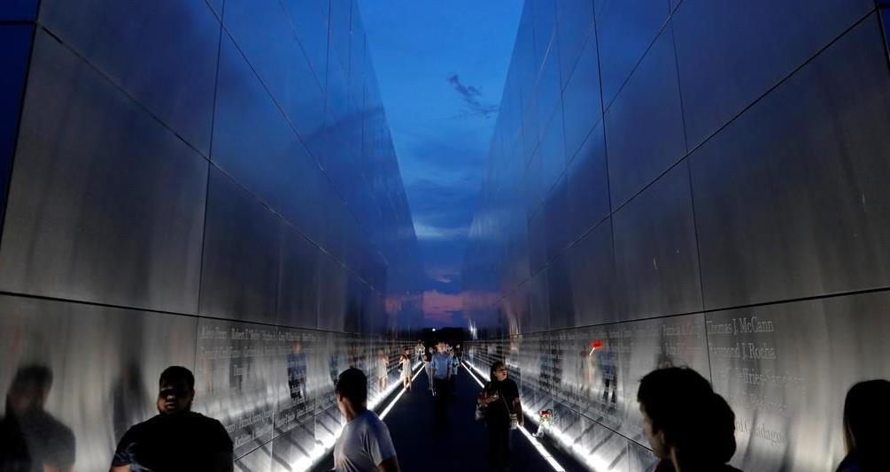 米中枢同時テロの犠牲者を悼むニュージャージー州立公園内の記念碑(ロイター)