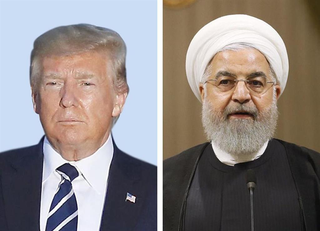 (左から)トランプ米大統領、イランのロウハニ大統領