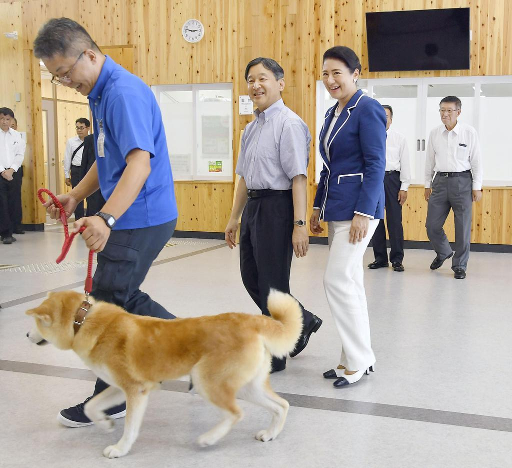 秋田県動物愛護センターを視察される天皇、皇后両陛下=7日午後、秋田市(代表撮影)