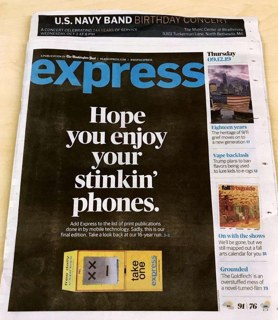 米ワシントン・ポストの無料紙「エクスプレス」の最終号=12日、ワシントン(共同)