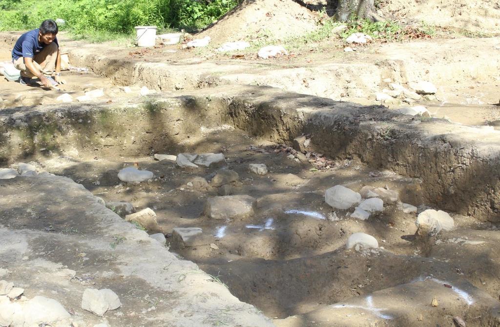 発掘調査が行われた龍松山城跡=和歌山県上富田町