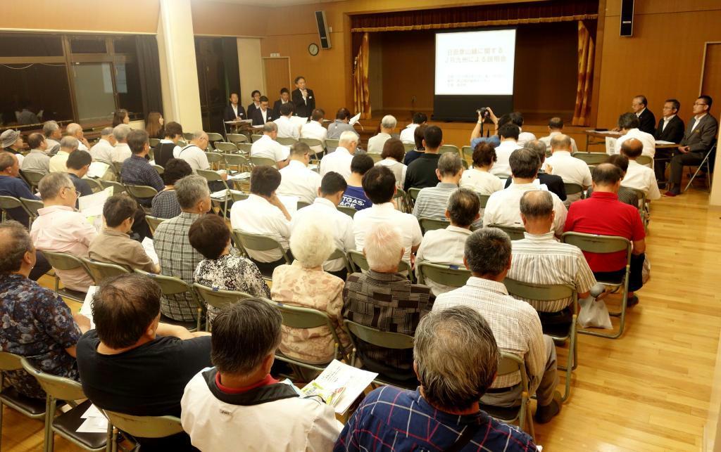 JR日田彦山線をめぐり、福岡県添田町で開かれた住民説明会