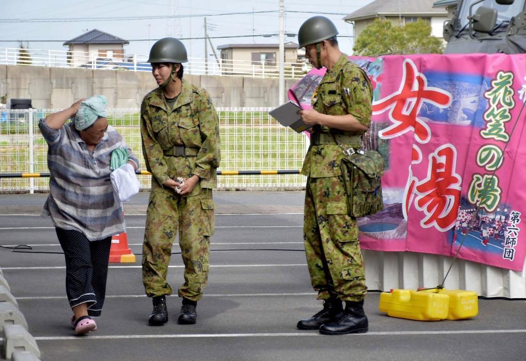 陸上自衛隊第6師団が千葉大停電で実施した入浴支援=15日、千葉県山武市(同師団提供)