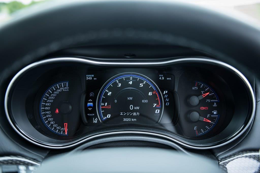 速度計部分のみデジタル表示のメーターパネル。