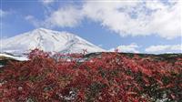 北海道・旭岳で初冠雪 紅葉とコントラストも