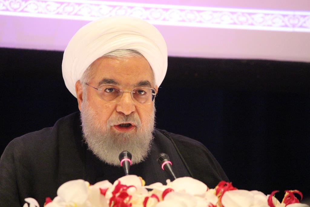 26日、米ニューヨークで記者会見するイランのロウハニ大統領(上塚真由撮影)