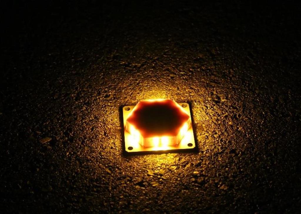 夜間にLEDライトを点灯した照明(写真提供:ヒラタ学園)