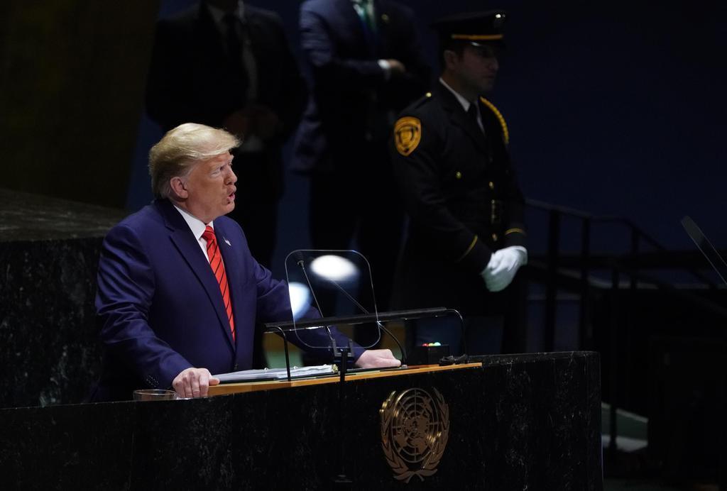 24日、米ニューヨークの国連本部で、一般討論演説するトランプ大統領(ロイター)