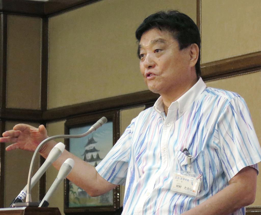 記者会見する名古屋市の河村たかし市長=9月30日午後、名古屋市役所