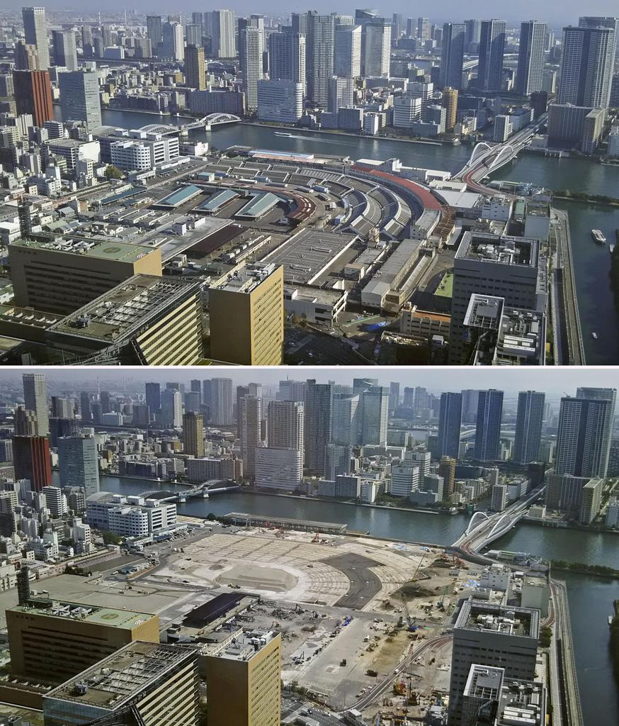 閉鎖された築地市場跡地=平成30年10月(上)。下は建物の解体が進む跡地=1日