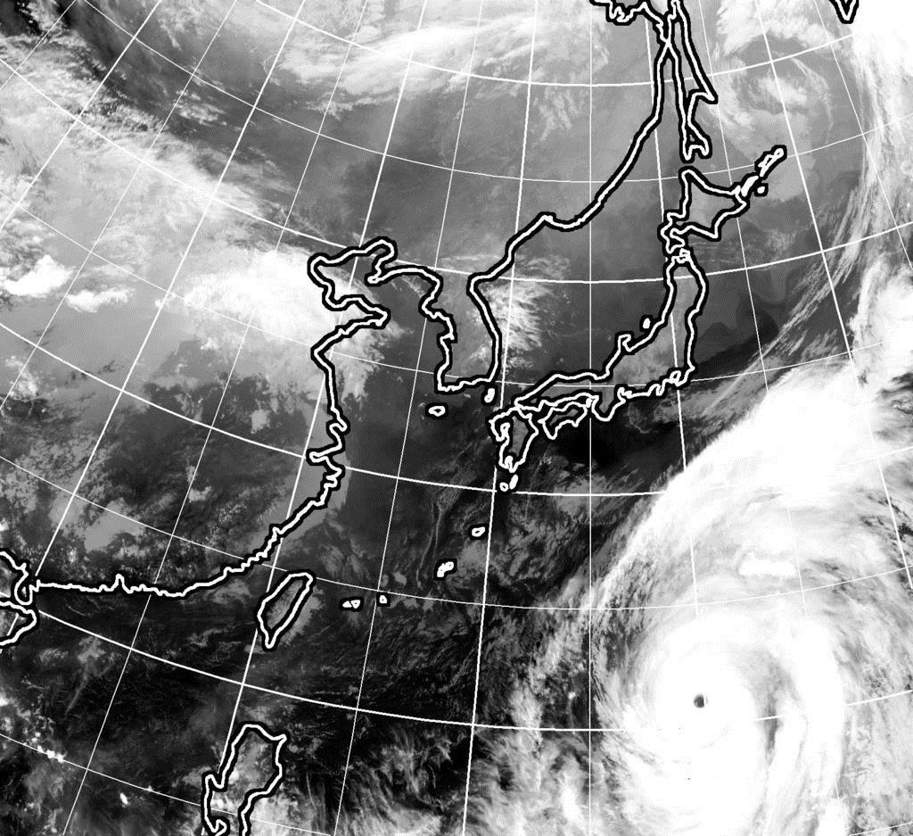 10月9日午後6時現在のひまわり雲画像
