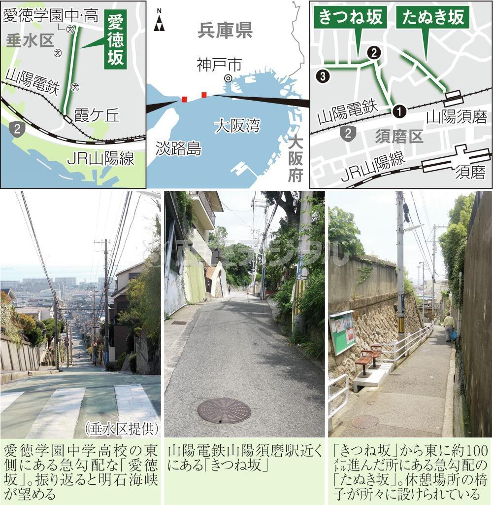 神戸でにわかに注目を集めているきつね坂、たぬき坂、愛徳坂