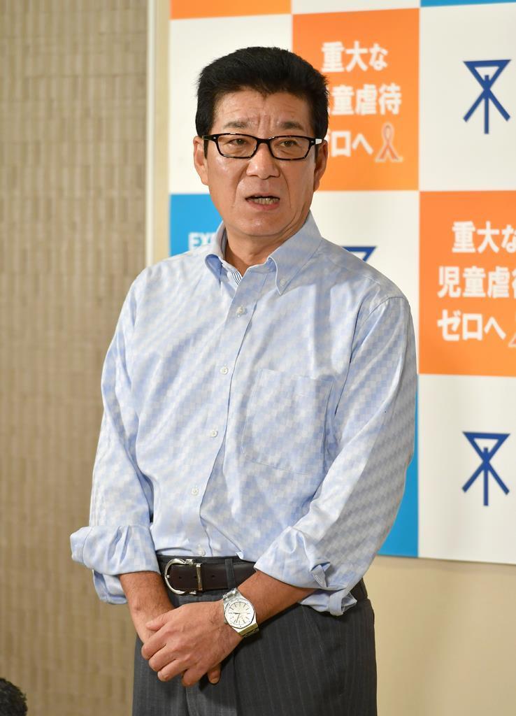 取材に応じる松井一郎大阪市長=9日午後、同市役所(沢野貴信撮影)