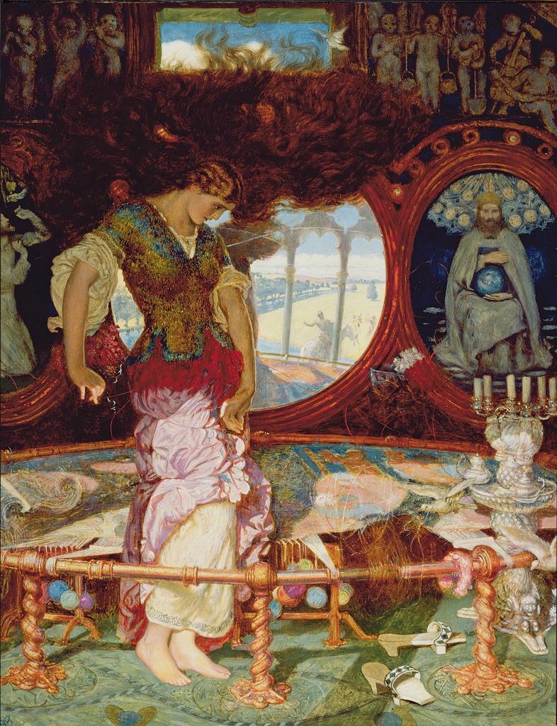 ウィリアム・ホルマン・ハント《シャロットの乙女》1887-92年頃、油彩・テンペラ/板、44.5 x 34.1cm、マンチェスター美術館 (c)Manchesteer Art Gallery, bequeathed by John Edward Yates, 1934