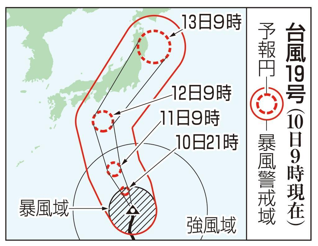 【台風19号】10日午前9時現在