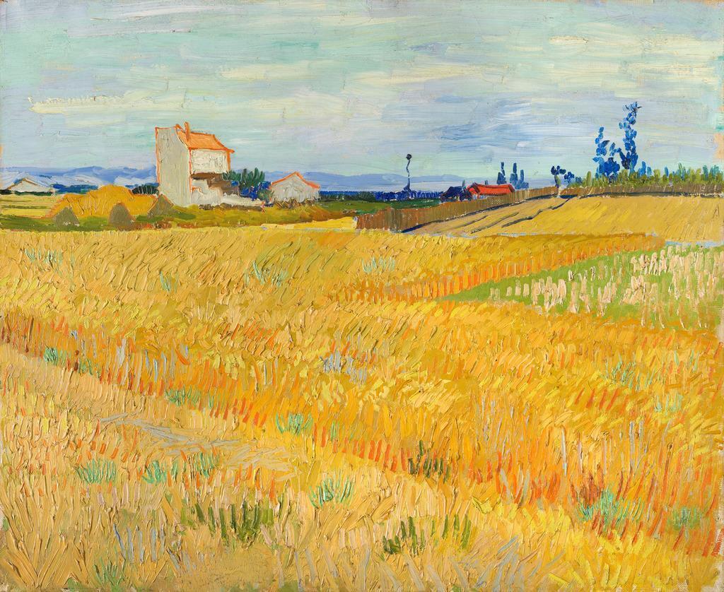 ≪麦畑≫1888年冬、新たな表現を求めてアルルへと旅立ったゴッホだが、その年の初夏、小麦畑を少なくとも10点の油彩画に描いている。見渡す限りに広がる、黄色く燃えるような景色に筆が進んだらしい。画面のおよそ3分の2を占める強烈な黄色の麦畑と、水色の空の対比が美しい。プロヴァンスの澄み渡った空気が香ってくるようだ。フィンセント・ファン・ゴッホ 《麦畑》 1888年6月 P. & N. デ・ブール財団(c)P. & N. de Boer Foundation
