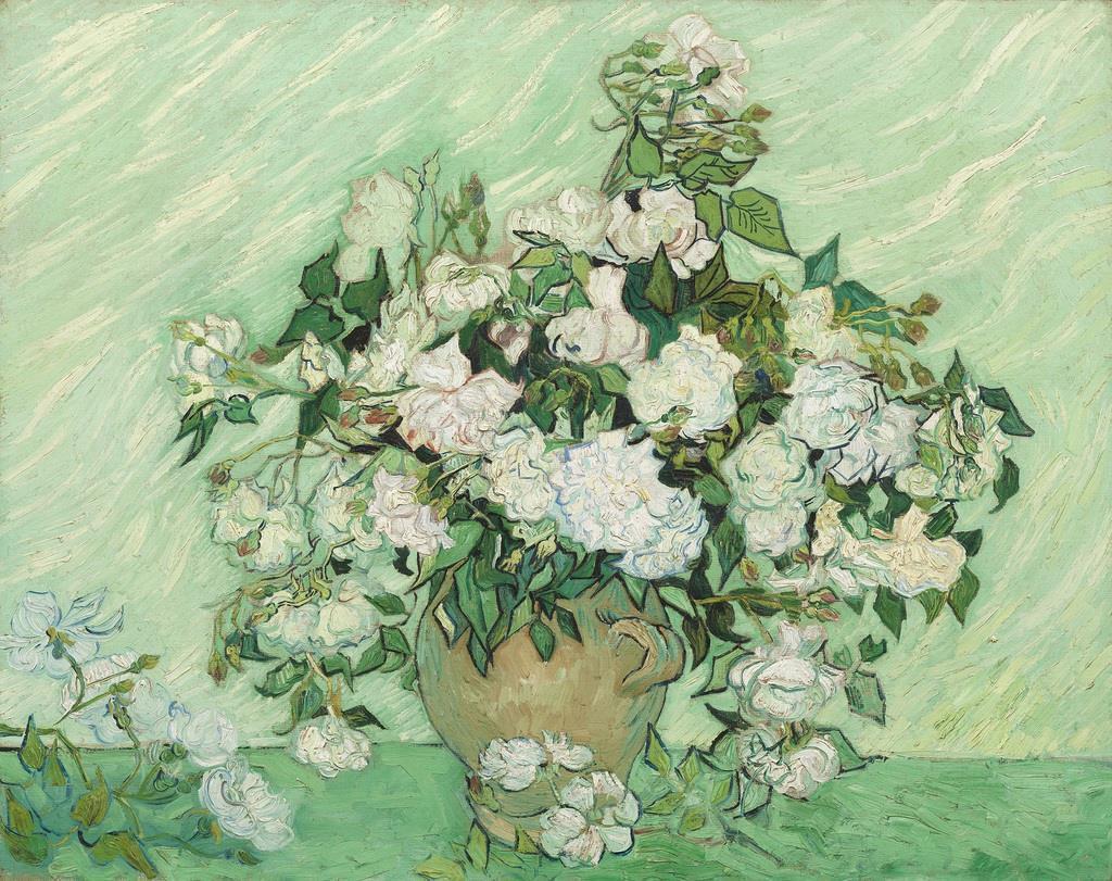 ≪薔薇≫ あふれるばかりに咲き誇る満開のバラ。ゴッホが手がけた数多くの静物画の中でも「最大級にして最も美しい作品のひとつ」と称(たた)えられる名作は、精神療養院を退院する直前に描かれた。生命の輝きの象徴として花をとらえていたゴッホだが、本作でも体調を回復した喜びがうねるような筆触で表現されている。 フィンセント・ファン・ゴッホ 《薔薇》 1890年5月 ワシントン・ナショナル・ギャラリー(c) National Gallery of Art, Washington Gift of Pamela Harriman in memory of W. Averell Harriman