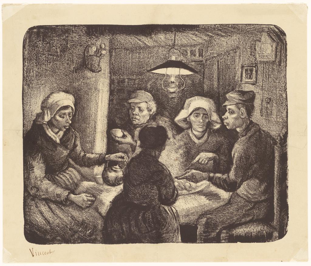 『ジャガイモを食べる人々』ゴッホが手がけた油彩画《ジャガイモを食べる人々》は初めて売り物になると自負した大作だった。本作は、油彩画の出来に満足したゴッホが家族や知人に作品の詳細を伝えるために制作したリトグラフ。本作に描かれた家の内装は、ハーグ派の巨匠・イスラエルスが好んで描いたものとよく似ており、ゴッホがその影響を色濃く受けていたことを示す。 フィンセント・ファン・ゴッホ 《ジャガイモを食べる人々》 1885年4-5月 ハーグ美術館(c) Kunstmuseum Den Haag