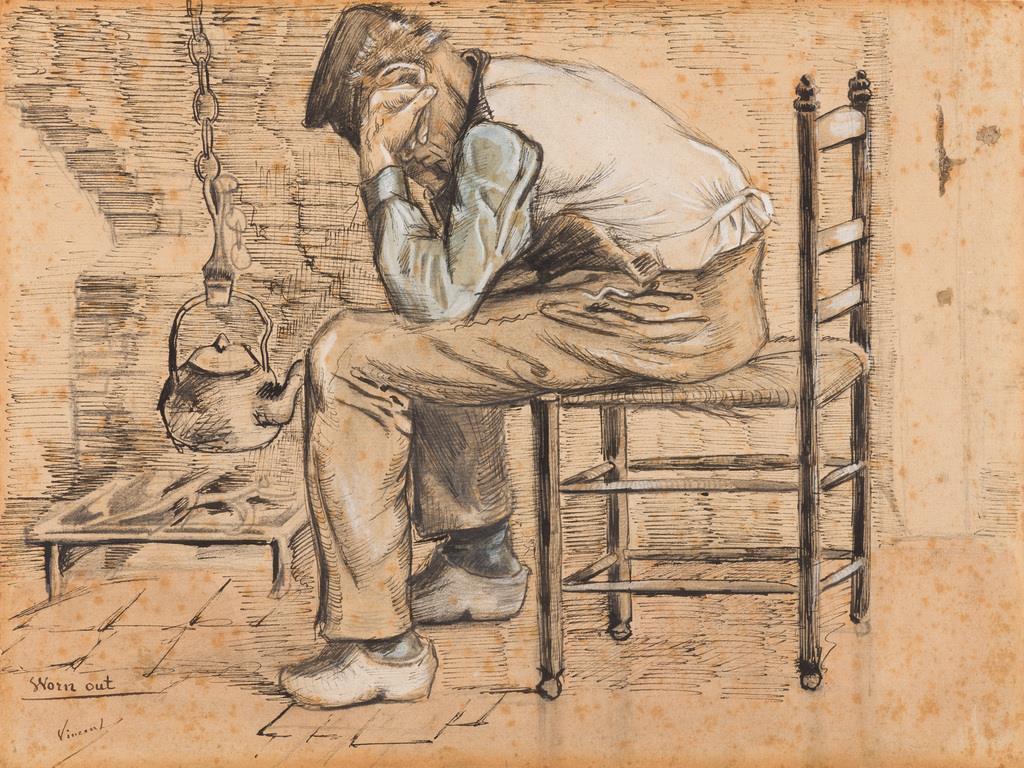 『疲れ果てて』ゴッホがマウフェから教えられたものは、油彩の技術だけではなかった。それまで模写で絵を学んでいたゴッホだが、「生きた人間をモデルにせよ」というマウフェの教えのもと、農民たちの労働や暮らしの様子を直(じか)に見て写し取るようになる。本作に描かれているのは炉端に座る病気の老人。質素な衣服や生活用品がその境遇を物語るようだ。 フィンセント・ファン・ゴッホ 《疲れ果てて》 1881年9-10月 P. & N.デ・ブール財団(c) P. & N. de Boer Foundation