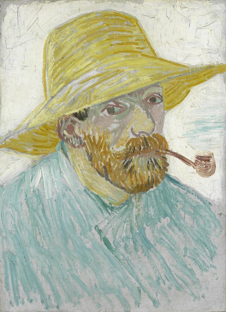 ≪パイプと麦藁帽子の自画像≫ゴッホが描いた自画像は約40点が知られているが、本作は印象派の影響で作風を大きく変えようとしていたパリ時代のもの。鮮やかな複数の色をひとつの画面上にまとめる練習を重ねており、本作でも限られた筆触と色数によって全体の印象を軽やかに表現している。 フィンセント・ファン・ゴッホ 《パイプと麦藁帽子の自画像》 1887年9-10月 ファン・ゴッホ美術館(フィンセント・ファン・ゴッホ財団)Van Gogh Museum, Amsterdam (Vincent van Gogh Foundation)
