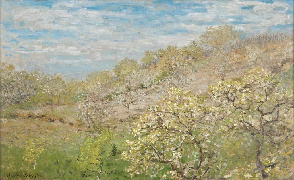 クロード・モネ『花咲く林檎の樹』 ゴッホは印象派の作家の中でも、特にモネを高く評価していた。「ああ、クロード・モネが風景を描くように人物を描かなければ」とは、弟のテオへの手紙の中で語った言葉だ。テオによれば、モネもまたゴッホを認めていたようだ。ゴッホが敬愛した巨匠による、華やかな風景画である。 クロード・モネ 《花咲く林檎の樹》1873年以前(?) モナコ王宮コレクション (c) Reprod. G. Moufflet / Archives du Palais de Monaco