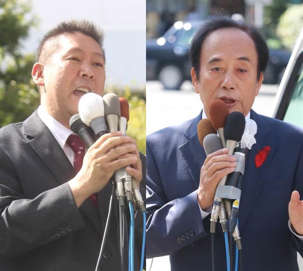 左から立花孝志氏(飯嶋彩希撮影)、上田清司氏(竹之内秀介撮影)=10日