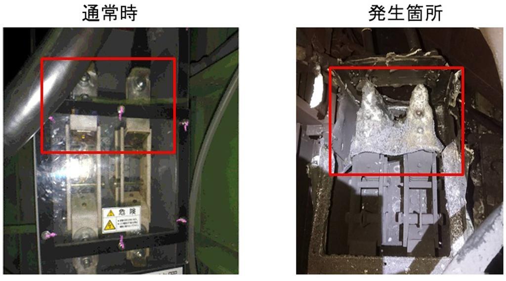 JR東海が公表した、出火したリニア試験車両の「作業用断路器」の通常の状態(左)と出火後の様子