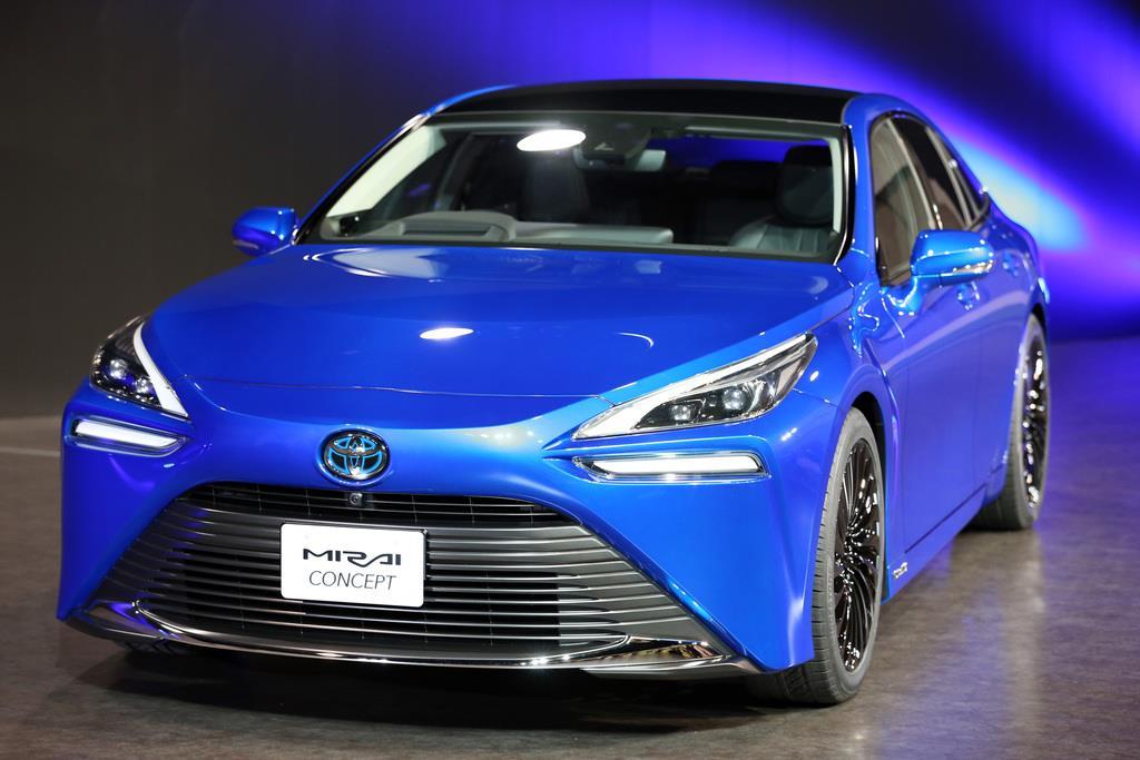 東京モーターショー2019で初公開されるトヨタ自動車の燃料電池自動車「MIRAI Concept」=東京都江東区(佐藤徳昭撮影)