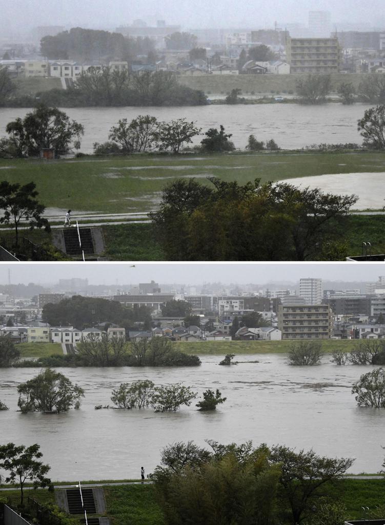 12日午後1時21分(上)と同3時55分の多摩川。台風19号の影響で増水し、グラウンドが水につかった。奥は川崎市=東京都大田区から撮影
