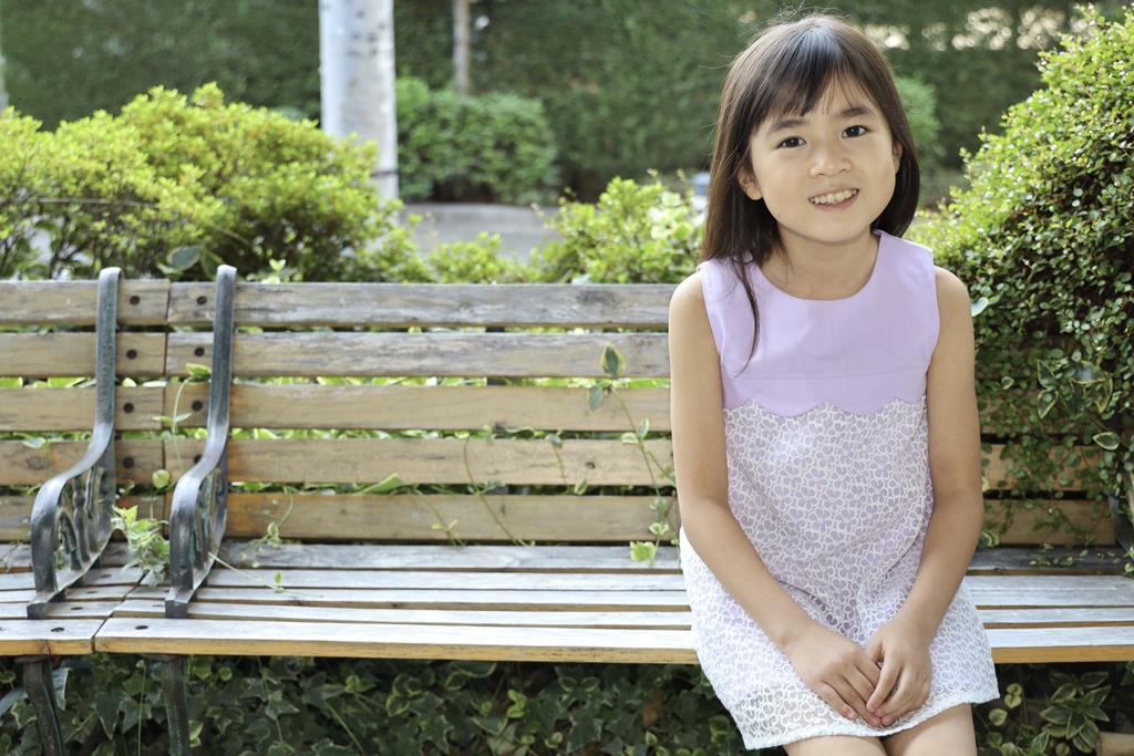 女優、Foorinの一員として活躍する9歳の新津ちせちゃん=東京都渋谷区(石井健撮影)