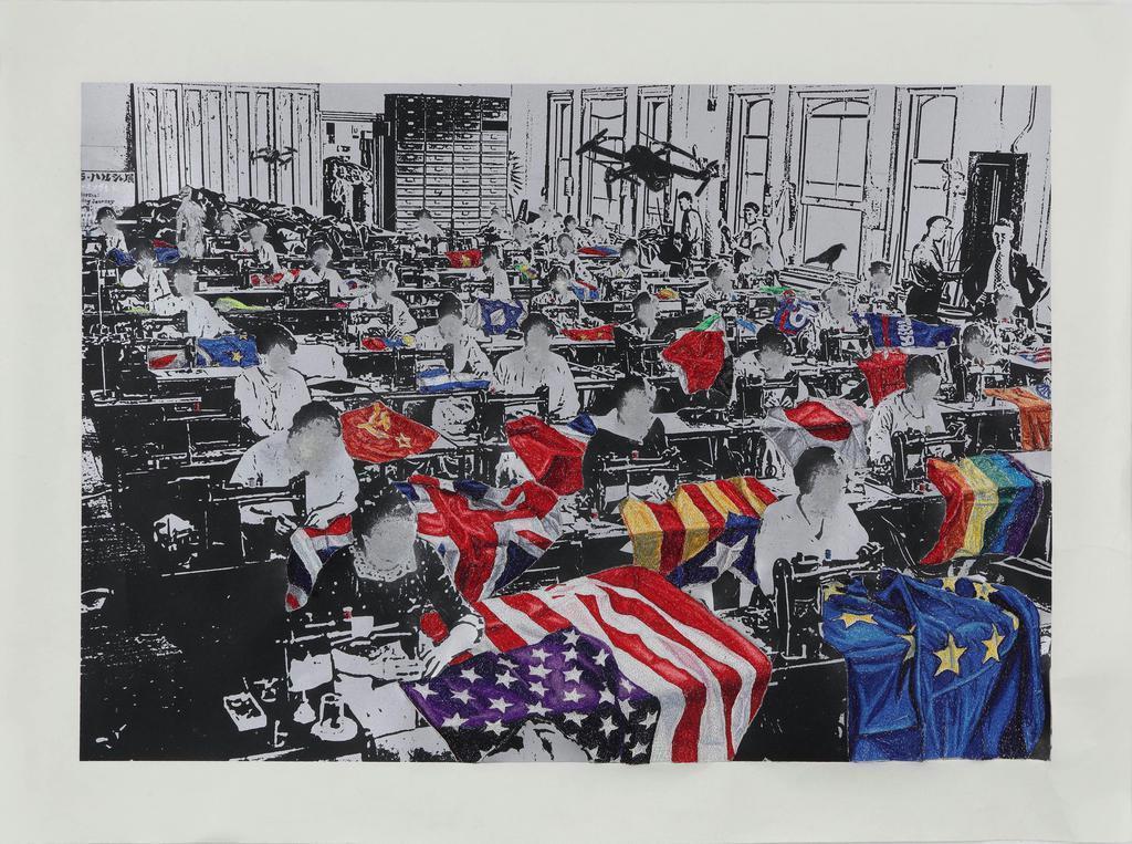 「Faceless Labourers」2019 シルクスクリーンプリントに刺繍、ドローイング 撮影・宮島径 (c)AOYAMA Satoru, Courtesy of Mizuma Art Gallery