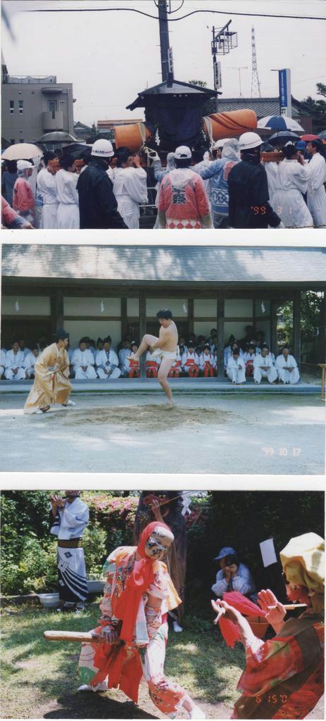 上から「豊年祭」、「抜穂祭」の独り相撲、「つぶろさし」